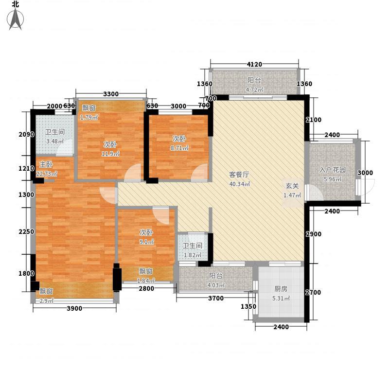 幸福广场1138.62㎡9#G1户型4室2厅2卫1厨