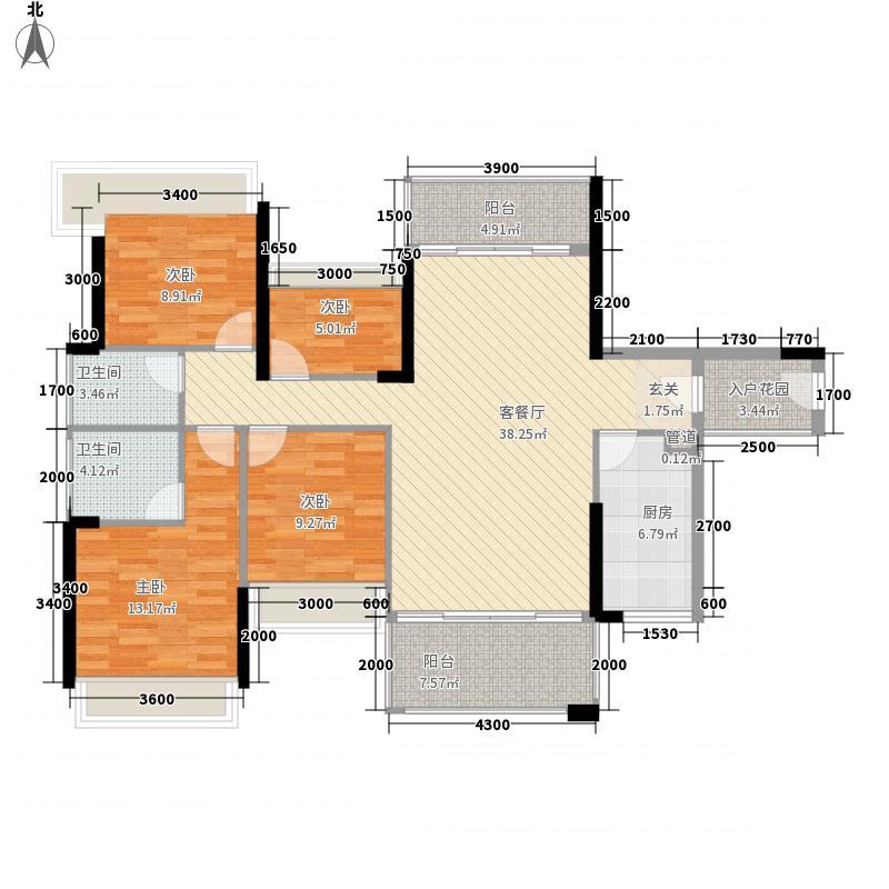 君汇名城121.10㎡22幢标准层03户型4室2厅2卫1厨