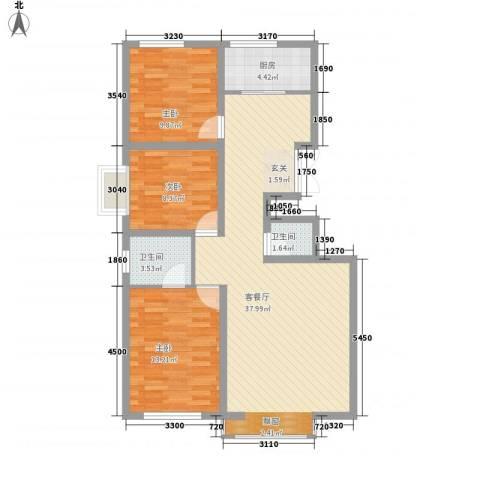 邮政花园3室1厅2卫1厨113.00㎡户型图