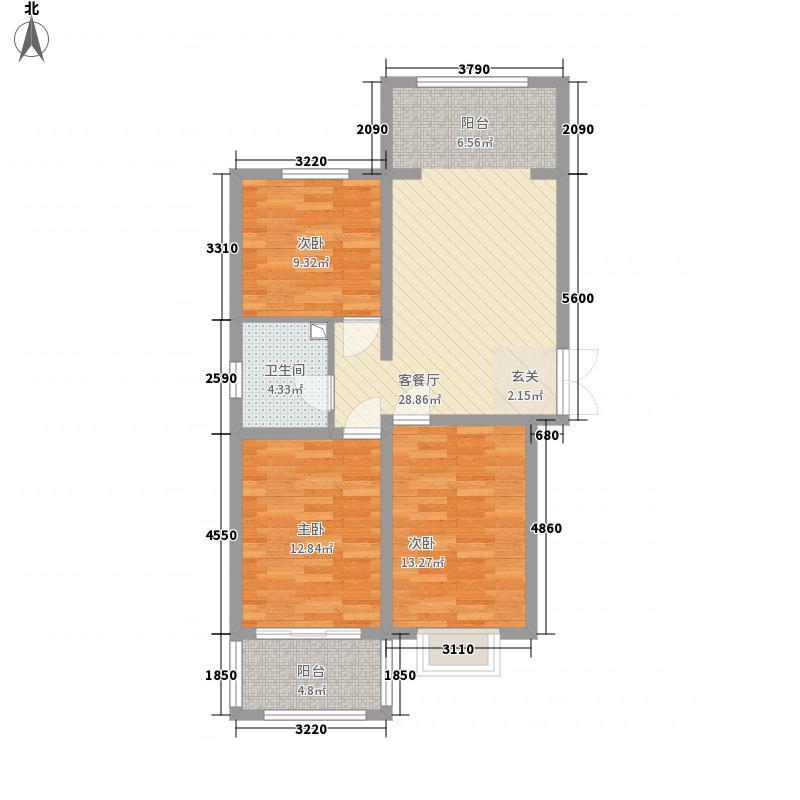 印象中心城14.83㎡6号楼F户型3室1厅1卫1厨
