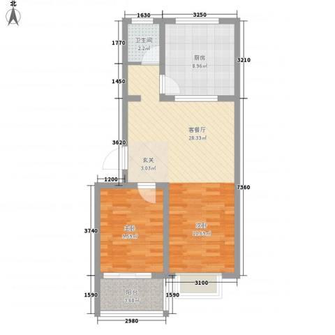 恒信沁园春1室1厅1卫1厨76.00㎡户型图