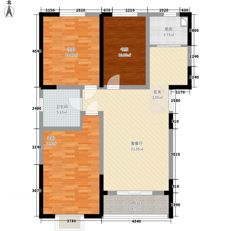 泰来怡居128.41㎡1号楼A'户型3室2厅1卫1厨