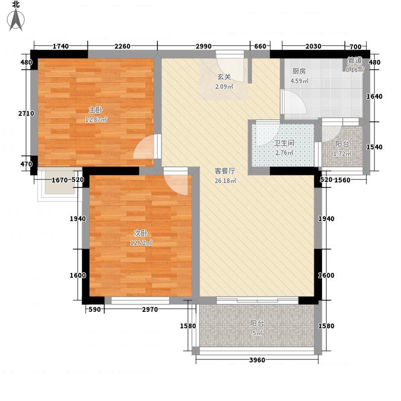 水映长岛81.64㎡户型2室2厅1卫1厨