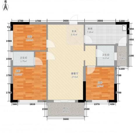中央公馆3室1厅2卫1厨76.47㎡户型图