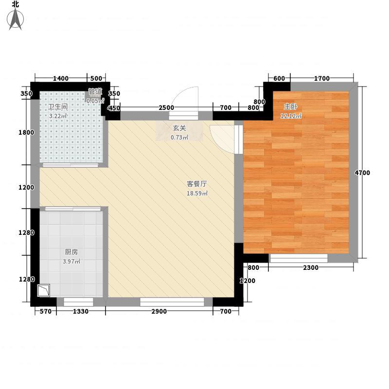 后现代橙56.20㎡3号楼B户型1室1厅1卫1厨