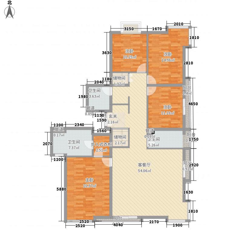 当代名筑17.21㎡15号楼D1户型4室2厅2卫1厨