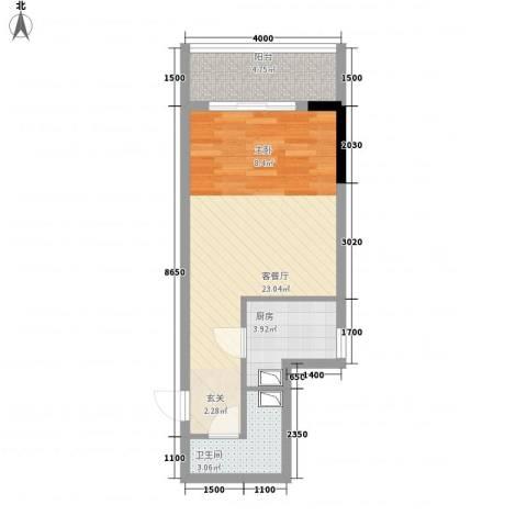 中央公馆1厅1卫1厨45.00㎡户型图