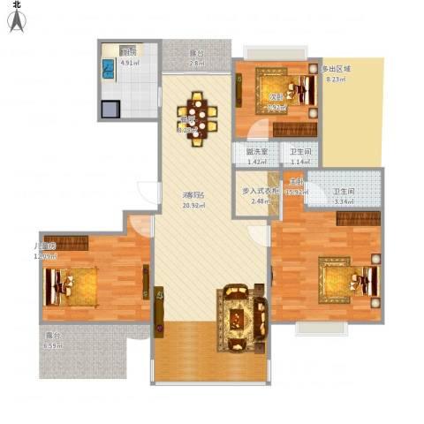 江南华庭3室1厅2卫1厨114.00㎡户型图