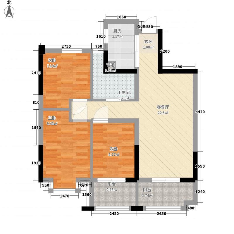 鸿基・彼岸88.00㎡B高层户型3室2厅1卫