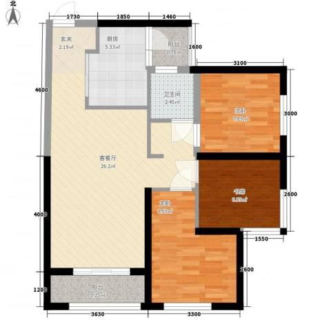 俊发・滨海俊园3室1厅1卫1厨63.35㎡户型图