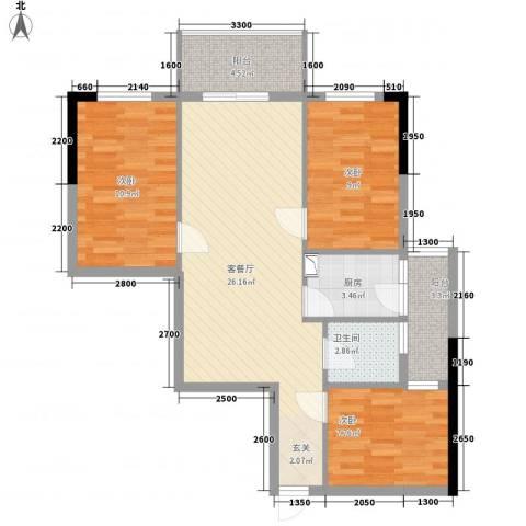 中央公馆3室1厅1卫1厨86.00㎡户型图