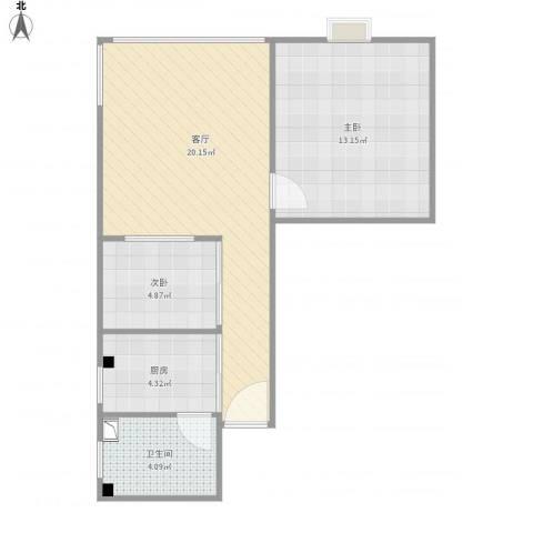 石湖苑2室1厅1卫1厨63.00㎡户型图