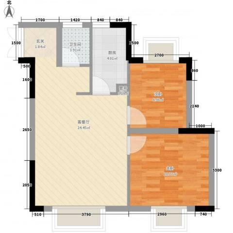 浪漫满屋2室1厅1卫1厨68.00㎡户型图