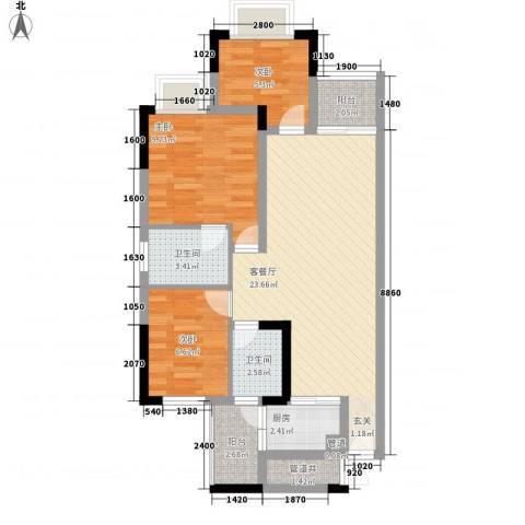 帝豪花园3室1厅2卫1厨89.00㎡户型图