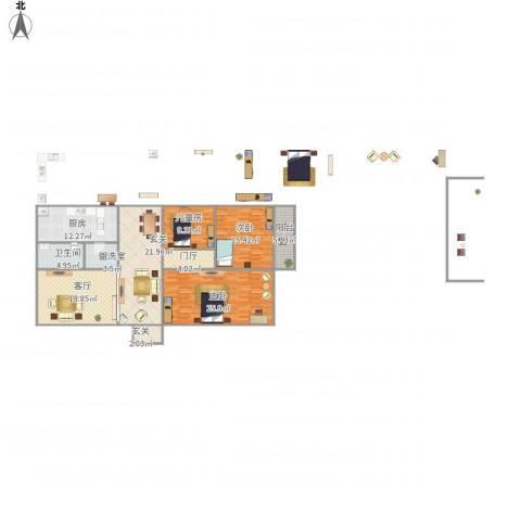 同升湖山庄3室2厅1卫1厨165.00㎡户型图