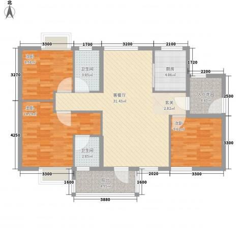 锦绣豪庭3室1厅2卫1厨85.21㎡户型图