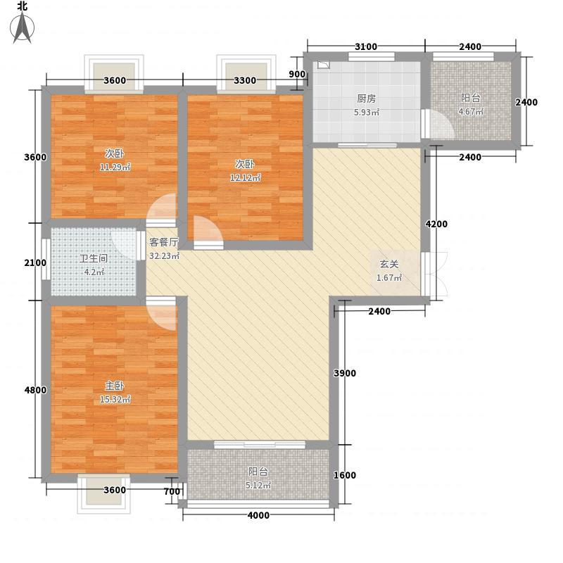 遂平新加坡花园1121.58㎡A1户型3室2厅1卫1厨