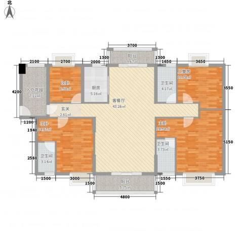 锦绣豪庭4室1厅3卫1厨127.69㎡户型图