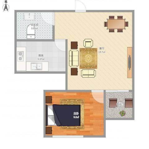 新阳丽舍1室1厅1卫1厨55.00㎡户型图