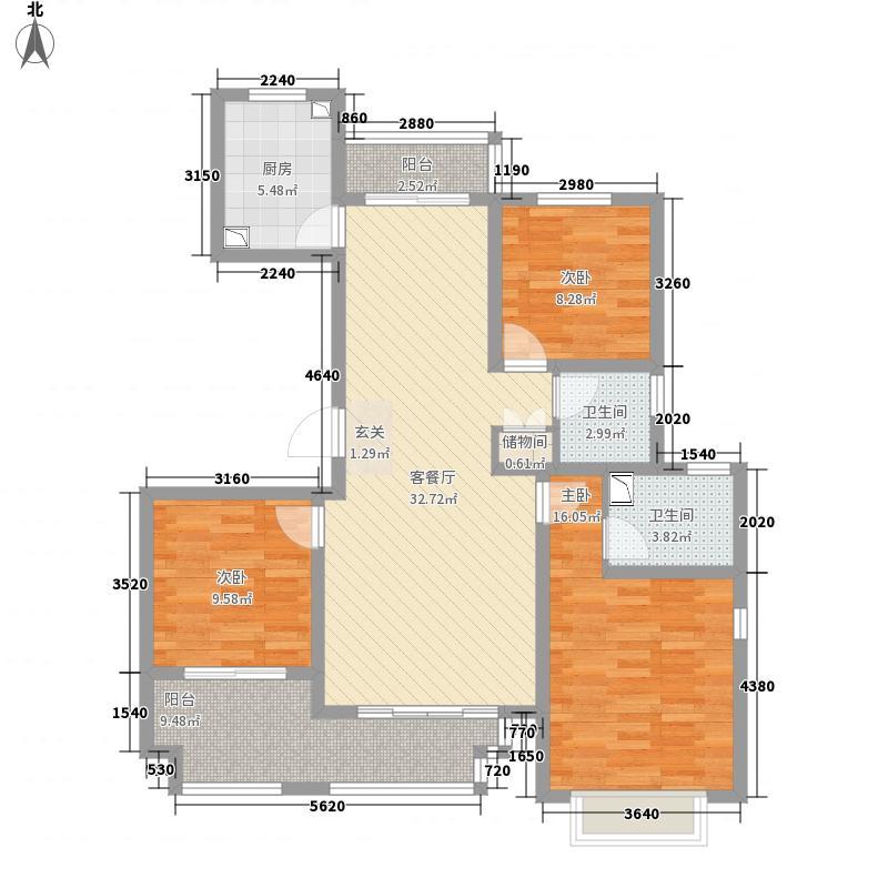 青岛花园133.00㎡F户型3室2厅2卫1厨