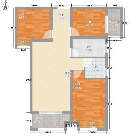 宜居・燕苑3室1厅1卫1厨76.21㎡户型图