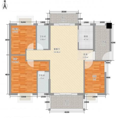 锦绣豪庭3室1厅2卫1厨117.00㎡户型图