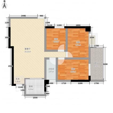 外贸局单位宿舍3室1厅1卫1厨102.00㎡户型图