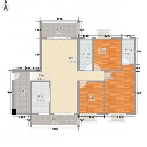 锦绣豪庭3室1厅2卫1厨101.21㎡户型图
