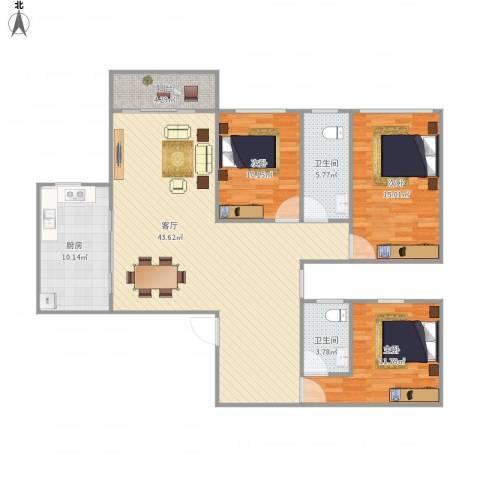 盛世江南3室1厅2卫1厨140.00㎡户型图