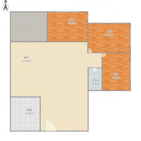 龙华花半里3室1厅1卫1厨497.00㎡户型图