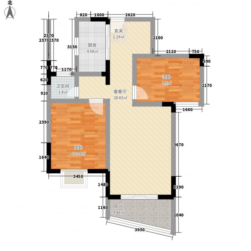江南明珠户型2室2厅1卫