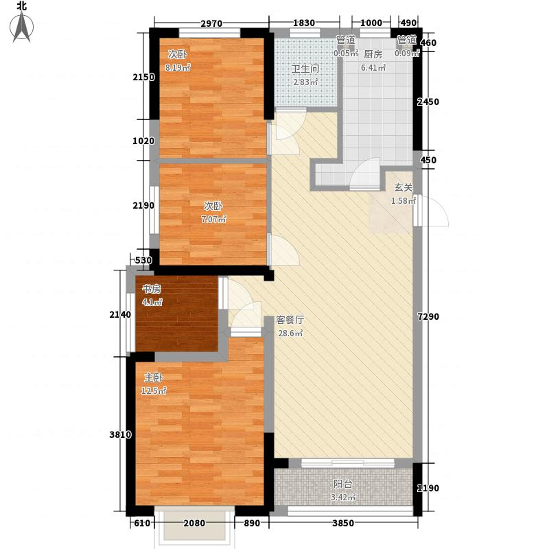锦华第一郡14.00㎡C1户型3室2厅1卫