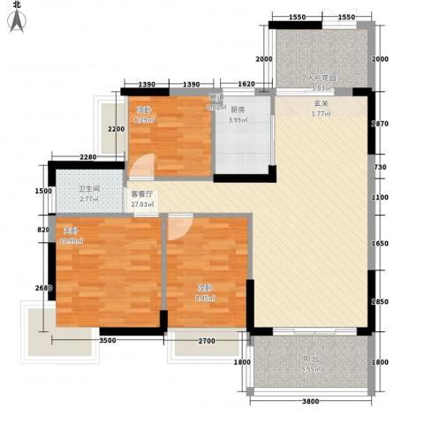东方家园3室1厅1卫1厨70.13㎡户型图