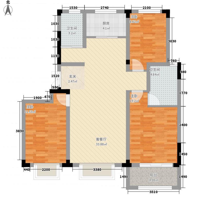 高铁开元盛世・智园11.56㎡B户型3室2厅2卫1厨