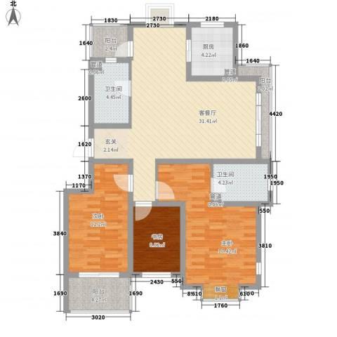 江铜花苑3室1厅2卫1厨130.00㎡户型图