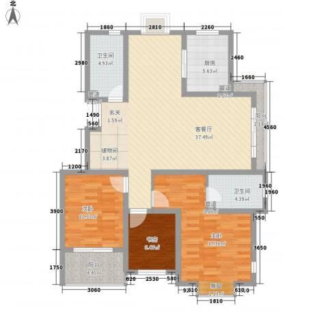 江铜花苑3室1厅2卫1厨135.00㎡户型图