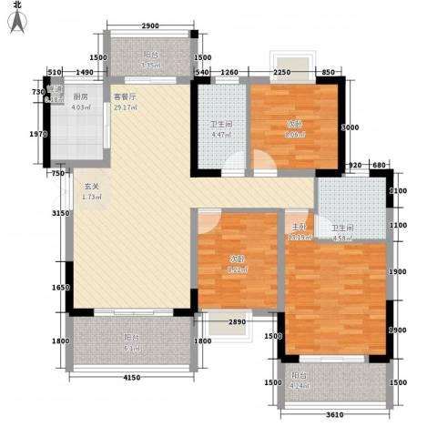 梓山湖领御3室1厅2卫1厨85.60㎡户型图