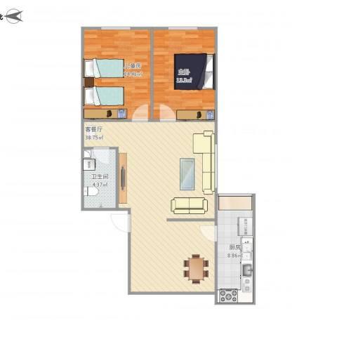 卧龙巷机关小区2室1厅1卫1厨107.00㎡户型图