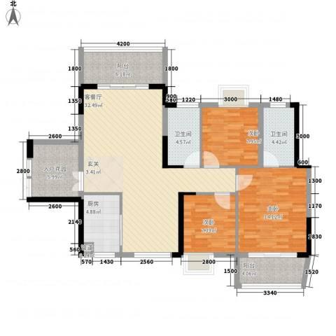 梓山湖领御3室1厅2卫1厨92.19㎡户型图