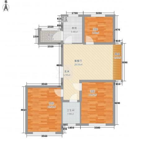 瑞合领秀恋恋山城3室1厅1卫1厨74.61㎡户型图