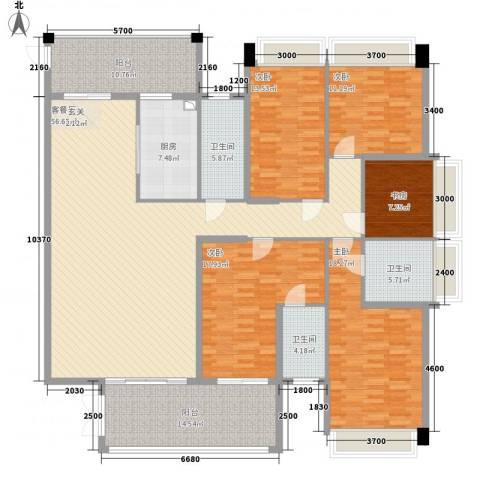 幸福里5室1厅3卫1厨236.00㎡户型图