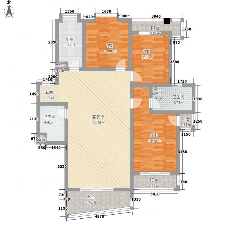 华裕黄金海岸153.40㎡C户型3室2厅2卫1厨