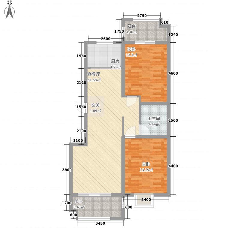 丰泽家园1.87㎡C朝向南北户型2室2厅1卫1厨