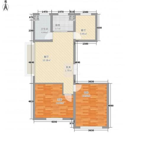 瑞合领秀恋恋山城2室2厅1卫1厨68.43㎡户型图
