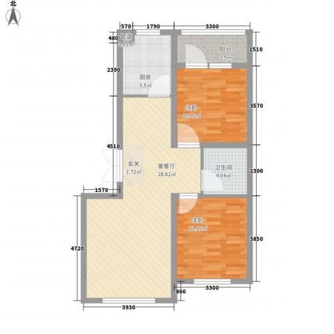 瑞合领秀恋恋山城2室1厅1卫1厨63.71㎡户型图