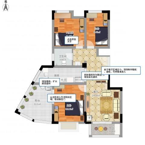 北环阳光花园3室1厅1卫1厨121.00㎡户型图