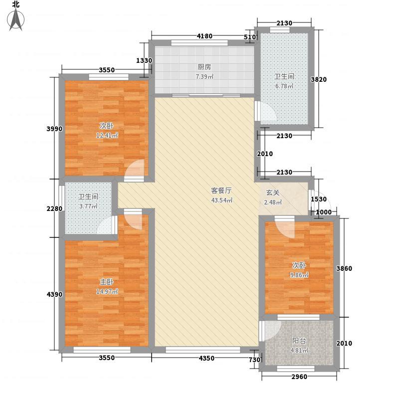 科润顺河帝景147.00㎡二期高层27号楼户型3室2厅2卫1厨