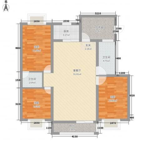 华润广场3室1厅2卫1厨117.00㎡户型图