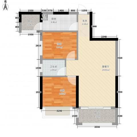 新园华府2室1厅1卫1厨75.00㎡户型图
