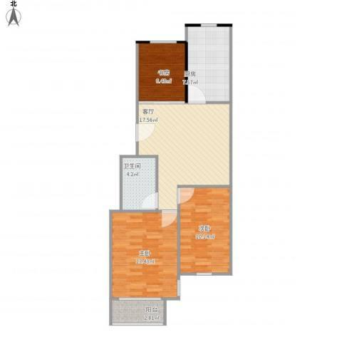伴山蓝庭3室1厅1卫1厨86.00㎡户型图
